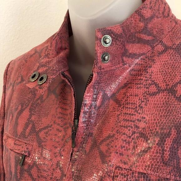 Alfani Jackets & Blazers - Alfani Pink Faux Snakeskin Genuine Leather Jacket
